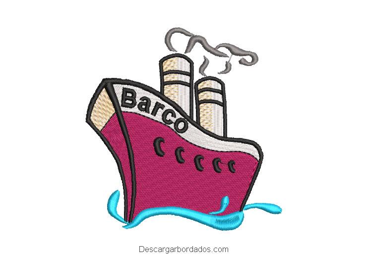 Diseño bordado de barco para maquina