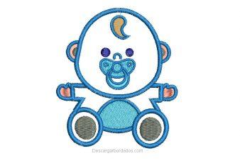 Diseño Bordado de Hermoso bebe con Aplicación