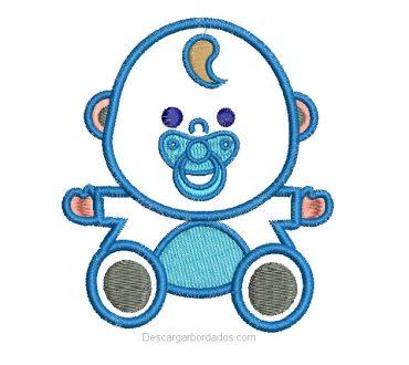 Diseño bordado de bebe con aplicación