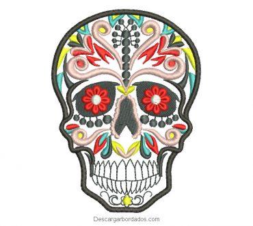 Diseño bordado de calavera mexicana