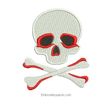 Diseño bordado de calavera peligro