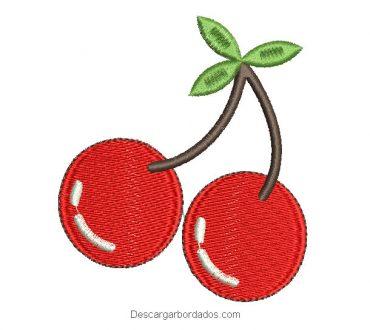 Diseño bordado de cerezas para maquina