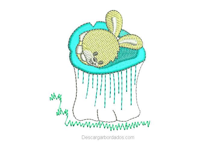Diseño bordado de conejo durmiendo