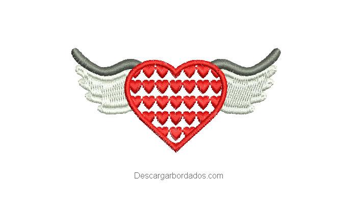 Diseño bordado de corazón con alas