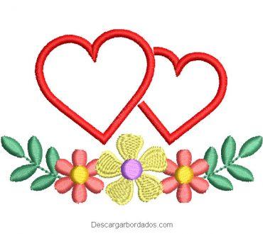 Diseño bordado de corazón con flores