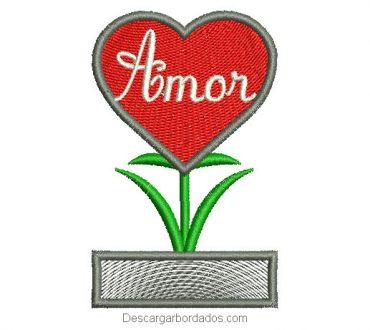 Diseño bordado de corazón con letra de amor