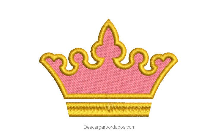 Diseño bordado de corona con aplicación