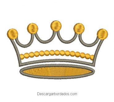Diseño bordado de corona con decoración