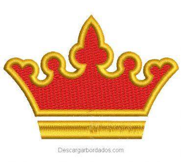 Diseño bordado de corona con aplicación y relleno