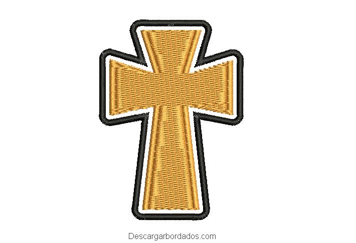 Diseño bordado de cruz con borde para maquina