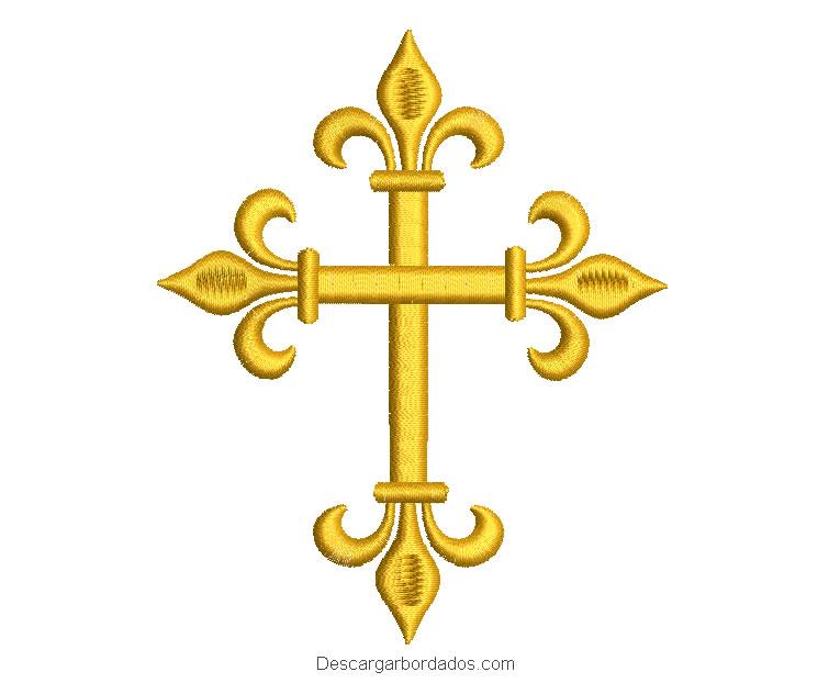 Diseño bordado de cruz para máquina