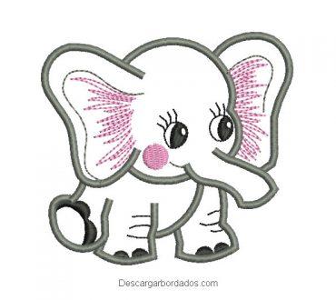 Descargar diseño bordado de elefante bebe