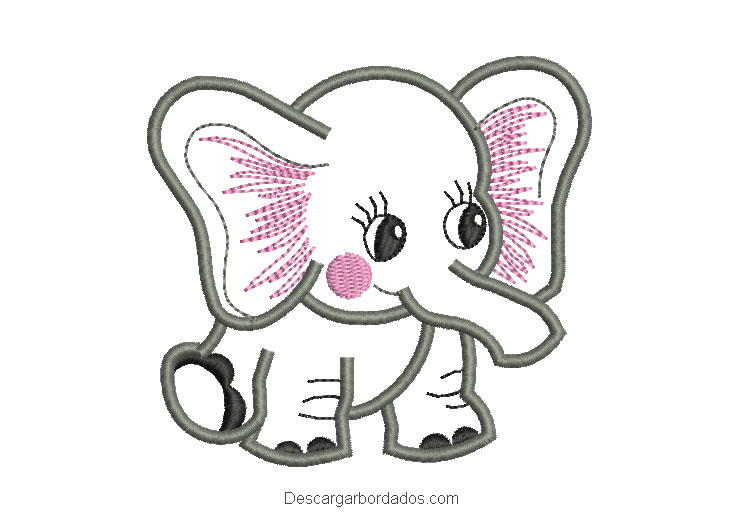 Diseño bordado de elefante bebe
