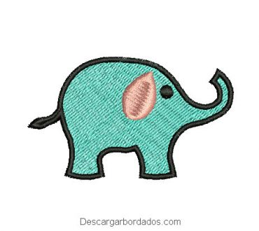 Diseño bordado de elefante con decoración para maquina