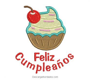 Diseño bordado pastel de cumpleaños