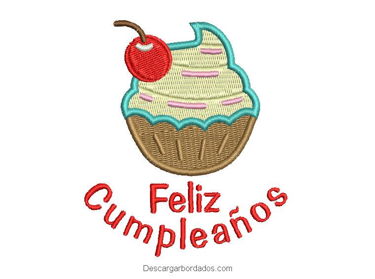 Diseño bordado de feliz cumpleaños con letra