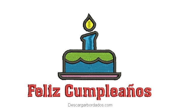 Diseño bordado de feliz cumpleaños con torta