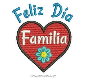 Diseño bordado de feliz día familia
