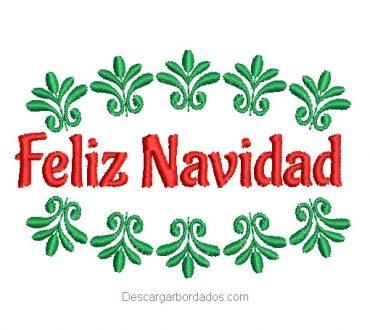 Diseño bordado de feliz navidad con hojas