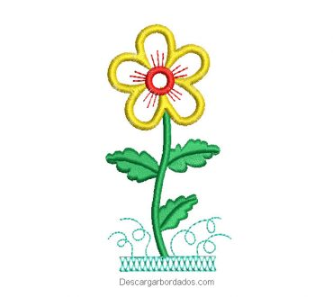 Diseño bordado de flor con hojas verdes