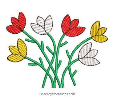 Diseño bordado de florales con ramas