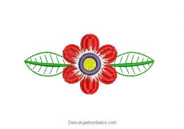 Diseño bordado de flores con hojas decoradas