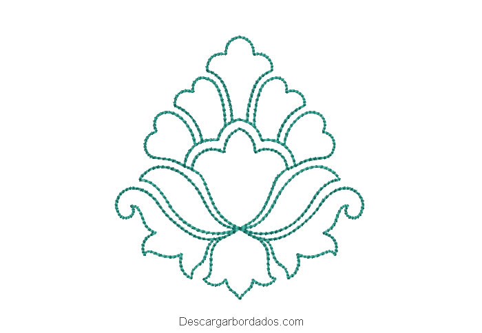 Diseño bordado de flores delineado