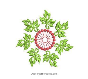 Diseño bordado de flores con decoración