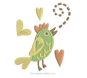 Diseño bordado de gallo