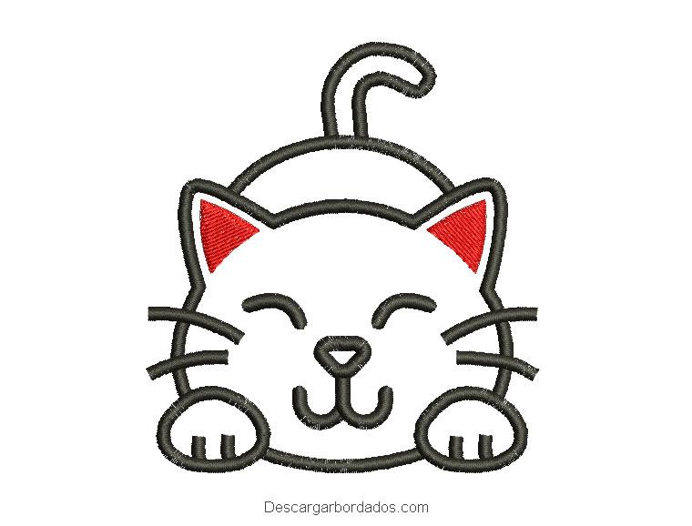 Diseño bordado de gato infantil para bordar