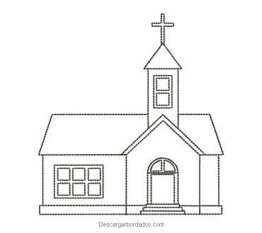 Diseño bordado de iglesia