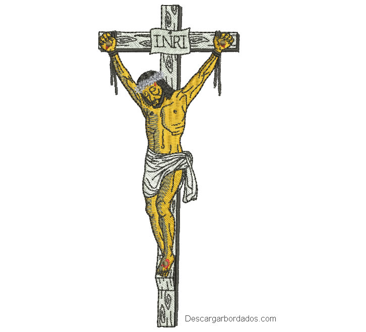 Diseño bordado de jesus crucificado