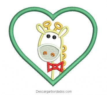 Diseño bordado de jirafa con corazón para máquina