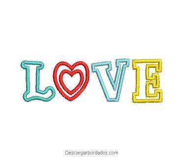 Diseño bordado de letra LOVE para bordar