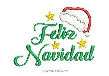 Diseño bordado de letra feliz navidad con estrella