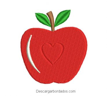 Diseño bordado de manzana