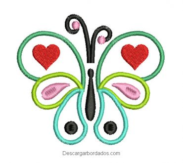 Diseño bordado de mariposa con decoración