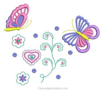 Diseño bordado de mariposa y corazones