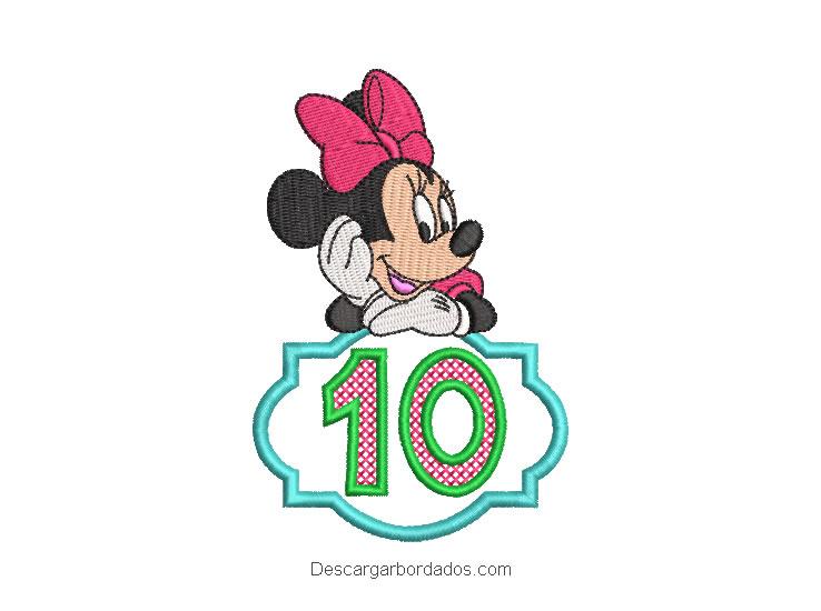 Diseño bordado de minnie con número 10