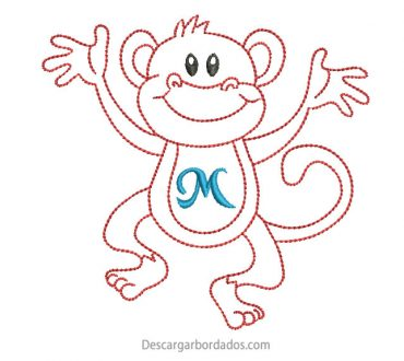 Diseño bordado de mono delineado