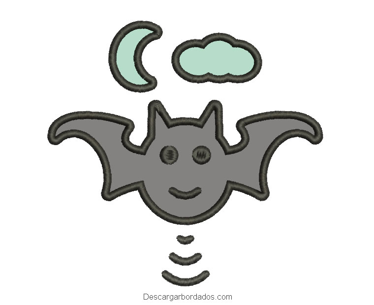 Diseño bordado de murciélago para máquina