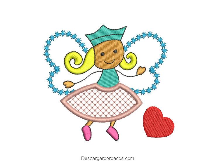 Diseño bordado de niña con vestido mariposa