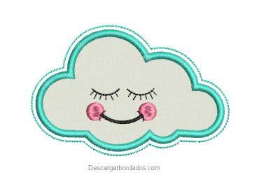 Diseño bordado de nube con aplicación