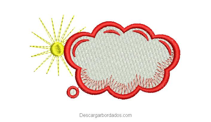 Diseño bordado de nube con sol