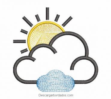 Diseño bordado de nube y sol infantil