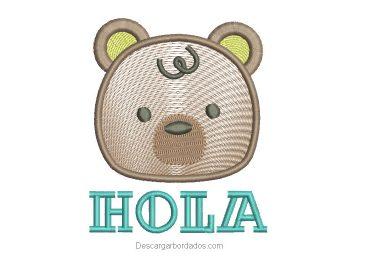 Diseño bordado de oso con letra