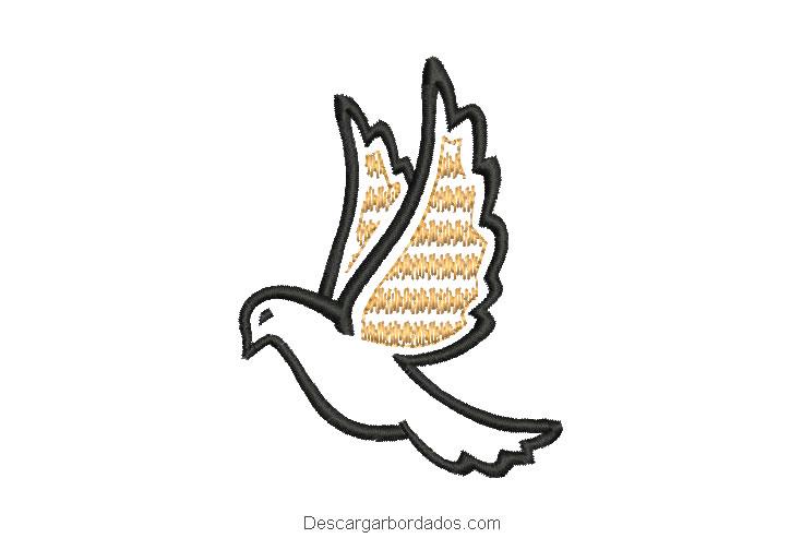 Diseño bordado de paloma con decoración