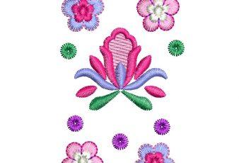 Diseño bordados de Flores con Decoración