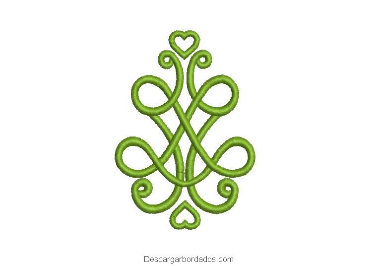 Diseño bordado de tribales con corazón