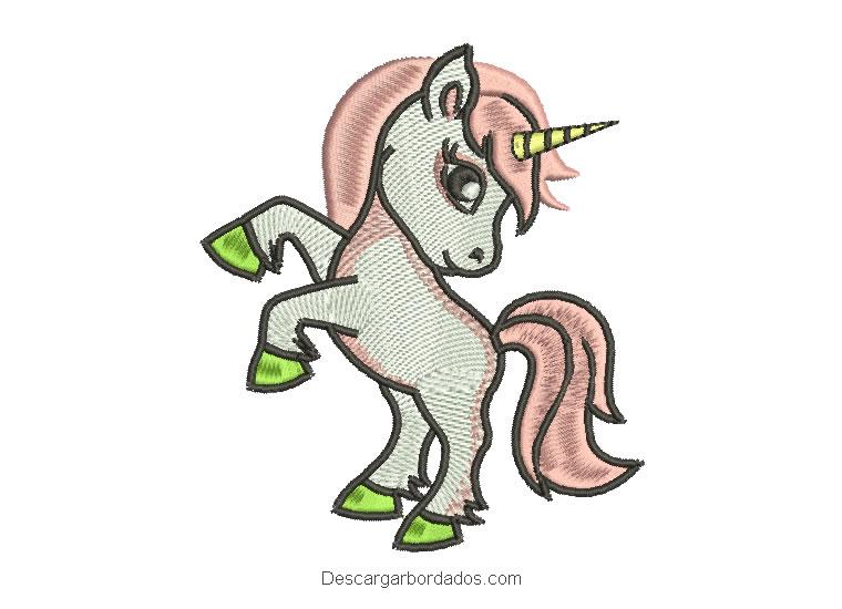 Diseño bordado de unicornio blanco